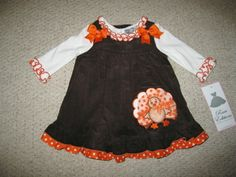 "NEW ""TURKEY DOT"" Thanksgiving Day Dress Girls 3m Fall Winter Baby Clothes Outfit"