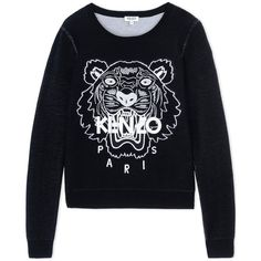 Kenzo Long Sleeve Sweater (€330) ❤ liked on Polyvore featuring tops, sweaters, black, kenzo sweater, kenzo top, kenzo, lightweight sweaters and long sleeve sweaters