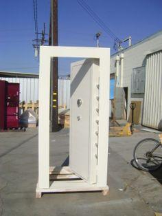 white tornado shelter door