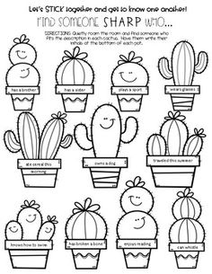 Cactus Themed Find Someone Sharp Who by Michelle Little Teachers Pay Teachers