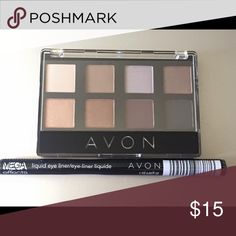 Avon Eyeshadow Palette and Liquid Liner in Black • 8in1 Eye Shadow Palette in Neutral: One Versatile Palette! Gorgeous shades of eyeshadow mix and match beautifully to create your favorite signature looks. Creamy-smooth powder blends to a silky velvet finish. .226 oz. total net wt.   • Mega Effects Liquid Liner in Black: 2-in-1 slanted-tip Eye Liner gets you close to lash line with an ergonomic grip. Draw thick and thin lines for an everyday look or a bold, edgy one. .03 fl. oz. Avon Makeup…