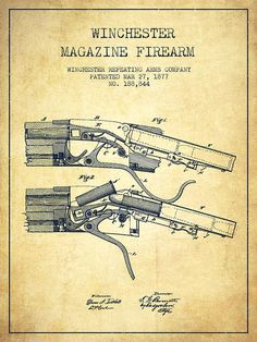 Winchester Drawing - Winchester Firearm Patent Drawing From 1877 - Vintage by Aged Pixel Vintage Bike Decor, Winchester Firearms, Patent Drawing, Weapon Concept Art, Patent Prints, Technical Drawing, Vintage Posters, Guns, Arts And Crafts