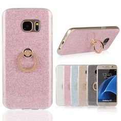 Glitter Sticker Ring Buckle Bracket Silicone Case For Samsung Galaxy S7 / S7 Edge - free shipping worldwide