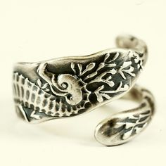 Seahorse Sterling Silver Ocean Theamed Spoon Ring by Spoonier, $69.00