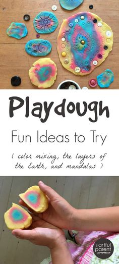 Lots of playdough fun for kids, including printing playdough mandalas, making…