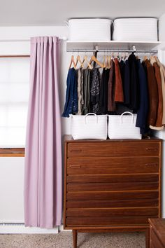 Creating an Open Closet System – A Beautiful Mess DIY open closet system- for those with tiny bedroom closets! Walk In Closet Design, Closet Designs, Design Set, Design Ideas, Small Walkin Closet, Ikea Closet System, Master Bedroom Closet, Bedroom Closets, No Closet Solutions