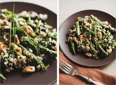 Warm walnut asparagus salad :: http://www.sproutedkitchen.com/home/2010/4/23/warm-asparagus-salad-with-basil-mint-pistou.html