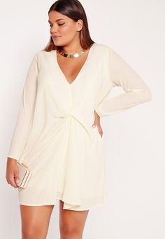 Missguided - Plus Size Knot Oversized Dress Cream