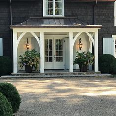 Carefully Curated by She Holds Dearly Front Porch Pillars, Arched Front Door, Front Door Overhang, Front Entry, Small Front Porches, Farmhouse Front Porches, Front Entrances, Back Porches, Garage Entry Door