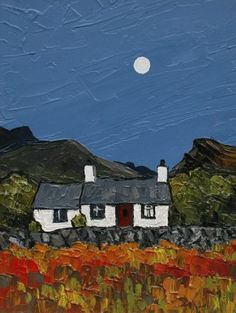 British Artist David BARNES - Moonlight in Snowdonia