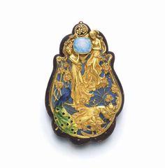 Art Nouveau gold, opal, enamel, heartwood box, c 1900