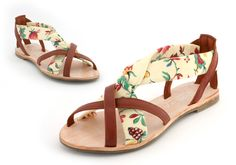 Leather and French floral hand made ladies sandal Euro size 38. £150.00, via Etsy.