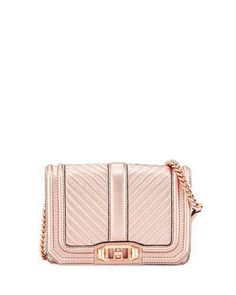 6f2d0cbc73 Rebecca Minkoff Love Small Quilted Metallic Leather Crossbody Bag Backpack  Purse
