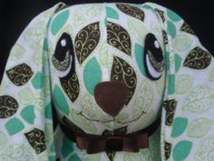 July Sale**14 stuffed yo yo bunny in brown/lime leaf by SursyShop on Etsy, $35.00