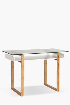 Midtown Desk With Shelf - Shop Office - Furniture - Shop Desk Shelves, Shelf, Glass Desk, Home Office Furniture, Hardwood, Dining Table, Office Desks, Design, Home Decor