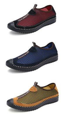 info for eaecb 924c7 Men Mesh Knitting Leather Slip On Breathable Casual Sport Shoes