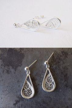 Silver Dangle Earrings. Drop Filigree by SusanaTeixeiraJewels