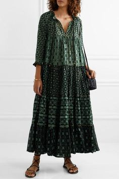 Yvonne S - Hippy tiered printed cotton-voile maxi dress Simple Outfits, Cool Outfits, Boho Fashion, Fashion Outfits, Fashion Design, Hippie Style Clothing, Style Clothes, Kurta Designs Women, Lace Up Sandals
