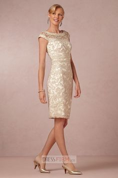 2015 Ladylike Sheath/Column Scoop Cap Sleeves Lace Knee-length Designer Groom Mother Dress [HTMD-1017] - $ 162.65 :