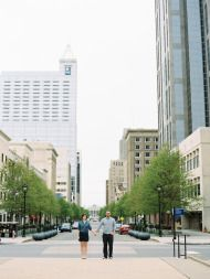 Sweet Downtown Raleigh Engagement - Style Me Pretty