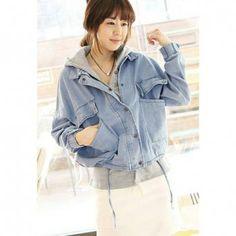 Drawstring Waist Design Hooded Twinset Denim Women's Coat, LIGHT BLUE, L in Jackets & Coats | DressLily.com