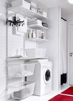 ALGOT Wall upright/shelves/drying rack, white - Shop here - IKEA Laundry Closet, Laundry Room Organization, Small Laundry, Laundry In Bathroom, Laundry Rooms, Laundry Area, Basement Laundry, Ikea Laundry Room Cabinets, Storage Organization