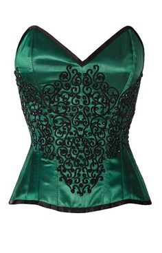 Green Satin And Black Twill Overbust Corset. This corset has a very film noir feel to it.