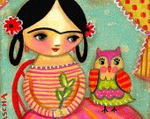 Frida Kahlo with owl  by Tascha