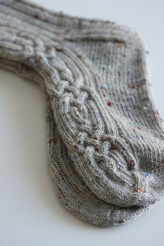 tweed cabled socks