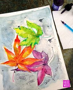 SEATTLE LEAVES2 | watercolor sketch of colorful Fall leaves | Valerie Weller | Flickr Watercolor Journal, Watercolor Sketch, Fall Leaves, Seattle, Colorful, Autumn Leaves