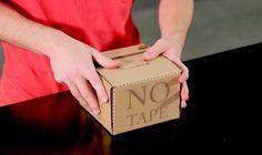 A Rapid Packing Container pode ser aberta apenas apertando sua tampa, usa cerca de 15% menos papelão do que a comum e ainda dispensa a fita adesiva.