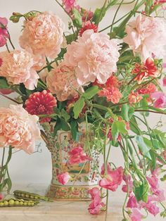 Peonies and Sweet Peas