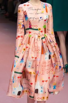 Children's drawings are the print of choice for @dolcegabbana #AW15 adding a touch of innocence and whimsy to the collection .  Milan Fashion Week