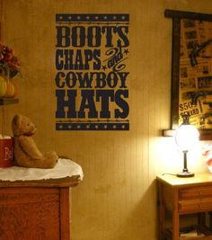 Wall Decal, Boots, Chaps and Cowboy hats, western decor, wall vinyl, vinyl decal, Cowboy, Cowgirl, By Otrengraving on Etsy. 22$, via Etsy.