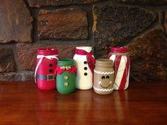 Christmas mason jars christmas themed mason jars christmas c Christmas Projects, Christmas Themes, Christmas Diy, Christmas Crafts, Christmas Decorations, Christmas Wrapping, Crafts For Kids, Diy Crafts, Jar Art