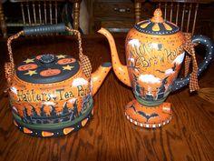 Vintage Tea Pots handpainted by me, Lisa Stuckey