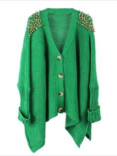 Green Loose Rivets Cardigan | Choies