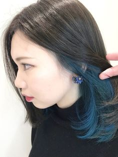 Black 'n' Blue Hair Style Hair Color Streaks, Hair Color Blue, Green Hair, Hair Highlights, Underdye Hair, Hidden Hair Color, Peekaboo Hair, Dyed Hair Blue, Dip Dyed Hair