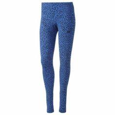 adidas Allover Leopard Leggings (Bluebird), $35, M