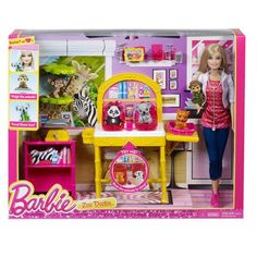 2013 Barbie I Can Be Zoo Doctor Play Set - Zoo Doctor Barbie has 3 animal patients: baby monkey, tiger cub and koala joey