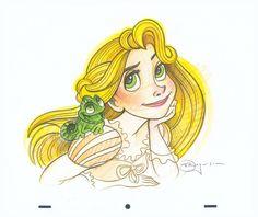 """Rapunzel Study"" By Tim Rogerson - Original Pencil on Paper, 10.5 x 12.5.  #Disney #DisneyFineArt #Tangled #Rapunzel #TimRogerson"