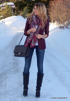 Farkut / jeans, Zara Bleiseri / blazer, Mango Saappaat / boots, Zara Huivi / scarf, Mango Toppi / top, Nelly.com Laukku / bag, Chane