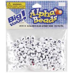White Round W/Black Letters Alphabet Beads 7mm 250/Pkg - KandiAddiction