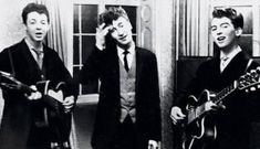 Paul McCartney, John Lennon and George Harrison play at the wedding reception for George's brother, Harry, in 1958 as The Quarrymen, two years before the formation of The Beatles Rare Historical Photos, Rare Photos, Photos Du, Rare Pictures, George Harrison, George Lucas, Paul Mccartney, John Lennon, Anthony Kiedis