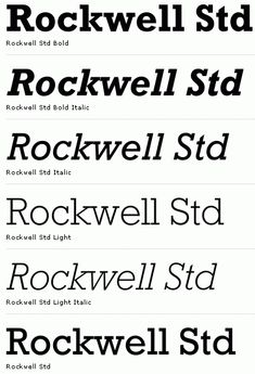 Rockwell font, the serifs are unbracketed and similar in weight to the horizontal strokes of the letters
