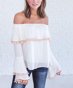 17d5d23178c Bella Ella Boutique White Pom Pom-Accent Off-Shoulder Top - Women