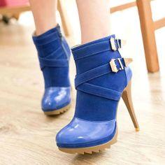 Womens Slim Ankle Boots Stilettos Platform High Heels Shoes Buckles Zipper Pumps