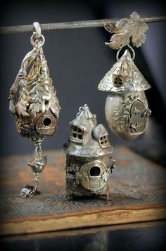 Silver fairy house pendants