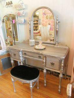 OMG silver distressed vanity and