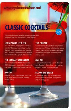 MENUS - Classic Cocktails, Different drink for everyday! but I think I'll stick with the mojito. Nobody makes one like a carnival bartender! Carnival Cruise Magic, Carnival Breeze, Carnival Food, Cruise Tips, Cruise Vacation, Cruise Travel, Paradise Cruise, Carnival Fantasy, Skyy Vodka
